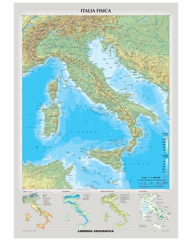 Cartina Politica E Fisica Italia.Carta Murale Italia Fisica E Politica Libreria Geografica