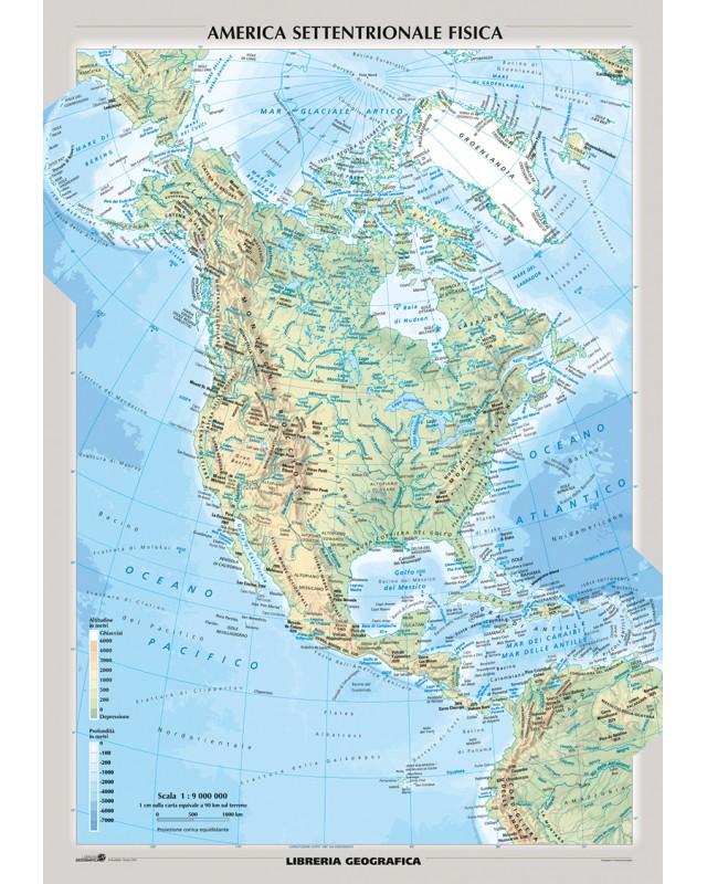 America Settentrionale Cartina Geografica Politica.Carta Murale Nord America Fisica E Politica Libreria Geografica