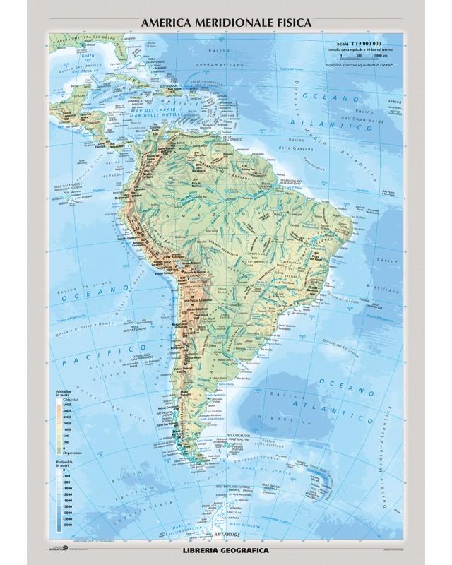 Cartina Fisica America Meridionale.Carta Murale Sud America Fisica E Politica Libreria Geografica