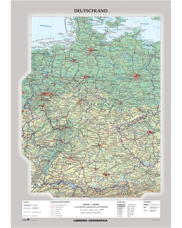 Immagini Cartina Geografica Germania.Carta Murale Germania Fisica Politica Libreria Geografica