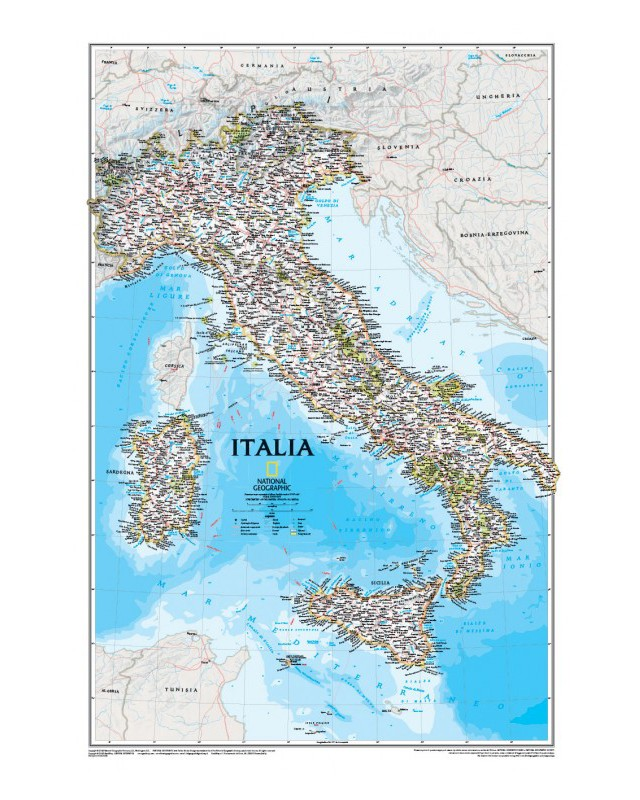Cartina Geografica Italia Immagini.Italia Classic Carta Murale Libreria Geografica